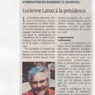 Extrait d'un article qui parle de Lucienne Lanaz à la présidence