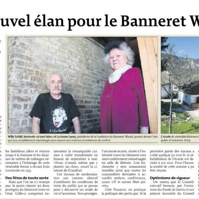 Extrait du Quotidien Jurassien concernant le nouvel élan pour le Banneret Wisard