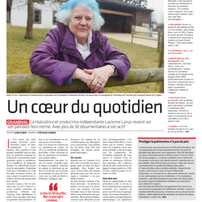 Extrait du Journal du Jura ou l'on voit Lucienne Lanaz