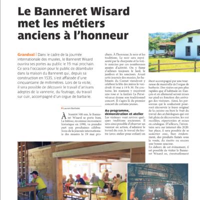 Extrait de La Gazette dont le titre est le Banneret Wisard met les métiers anciens à l'honneur.