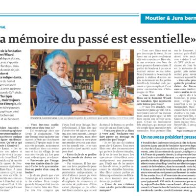 Article du Quotidien Jurassien sur la mémoire du passé est essentielle.